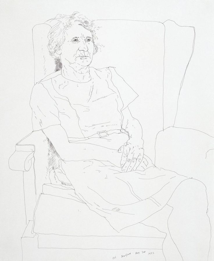 """Portrait of the Artist's Mother, Mrs Laura Hockney, Bradford"" by David Hockney. Pen and ink on paper, 432 x 353 mm. 1972."
