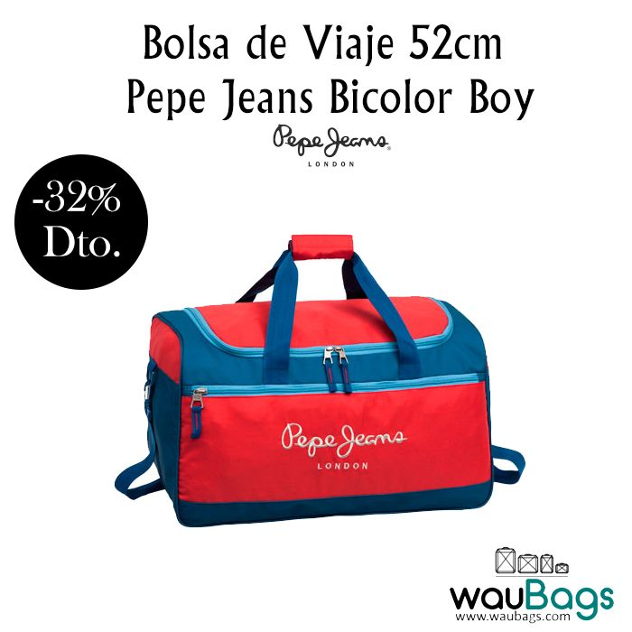 Lleva todo lo que necesites a la hora de viajar en esta práctica Bolsa de Viaje Pepe Jeans Bicolor Boy, ahora por tan solo 29,99€!!!  @waubags.com #pepejeans #bolsa #viaje #oferta #descuento #rebajas #waubags