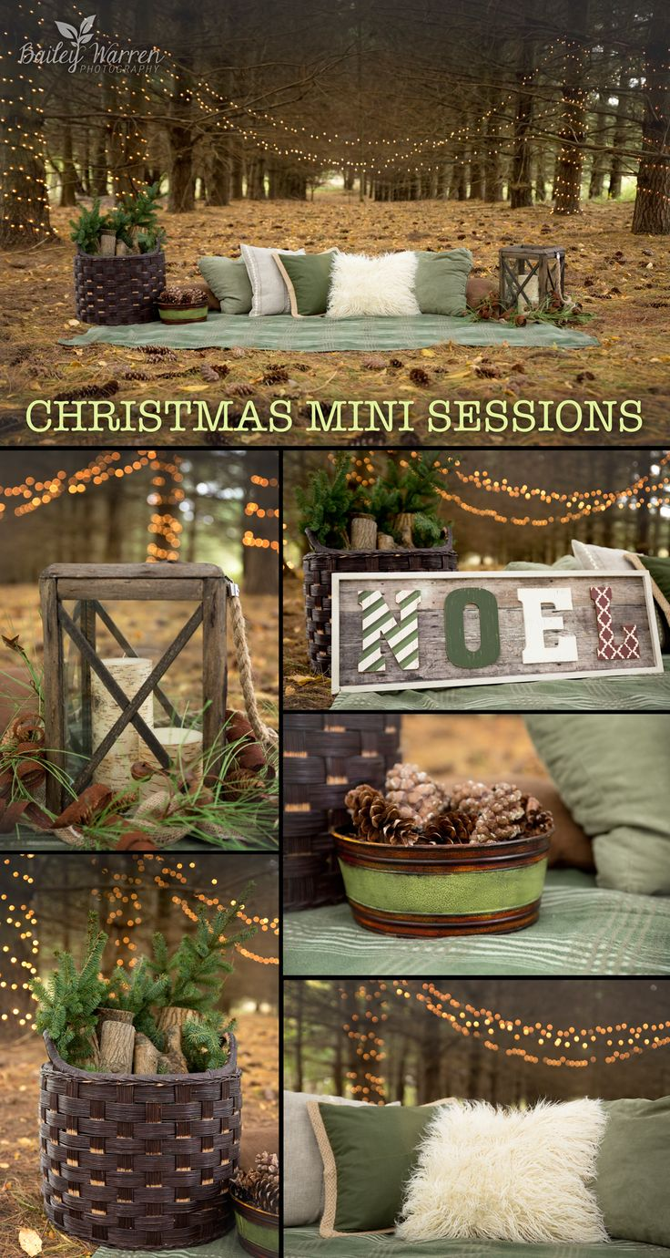 Holiday and Christmas Minis Photography Sessions in the woods. Christmas photo shoot featuring a charming enchanted forest theme with twinkling Christmas lights. Images are copyright of Bailey Warren Photography. www.baileywarrenphotography.com
