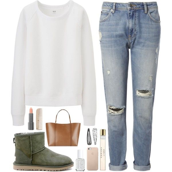 A fashion look from June 2015 featuring Uniqlo sweatshirts, Whistles jeans and UGG Australia ankle booties. Browse and shop related looks.