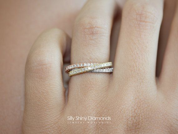 1.0-1.35 ct 3 Rolling Ring Trinity Band by Silly Shiny Diamonds, 3 Gold Colors Diamond Band. Engagement, wedding ring, push present