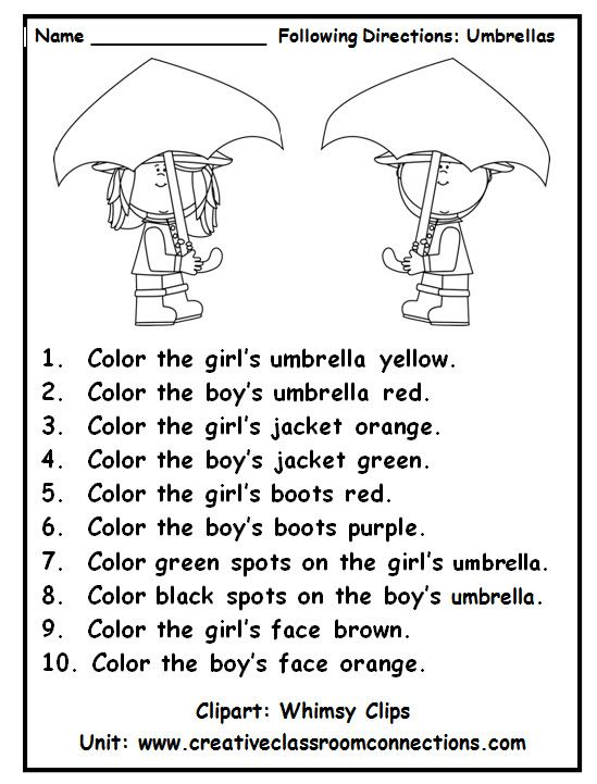 Following directions with color words is a fun practice activity. View other primary units and freebies at www.creativeclassroomconnections.com.