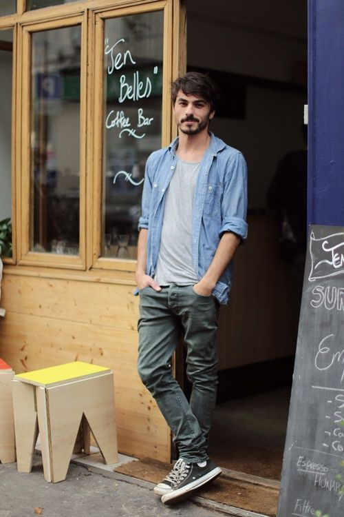 Love the denim long sleeve with tee shirt and grey jeans adding the Converse just makes this casual street style work!