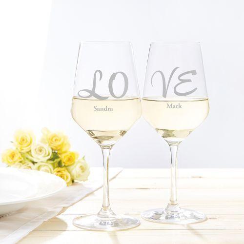 Weißweingläser Love - 2er Set