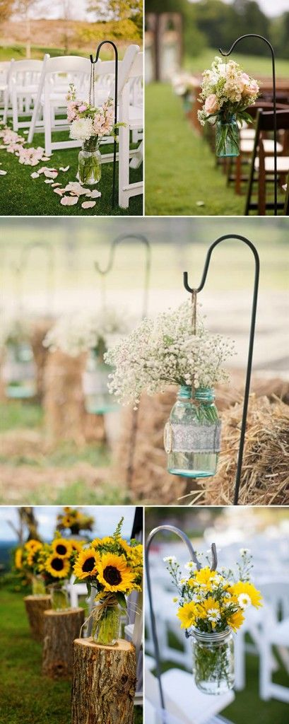 Bottom left corner - Rehearsal dinner table centerpieces  rustic outdoor wedding aisle decorations with mason jars and flowers