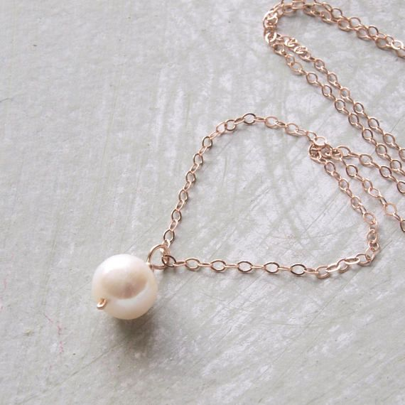 Rose Gold Filled Pearl Necklace