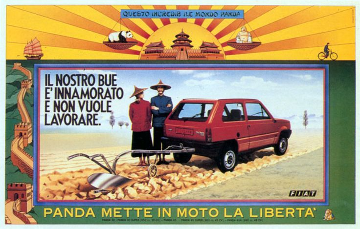 """Read more: https://www.luerzersarchive.com/en/magazine/print-detail/fiat-17384.html Fiat The incredible world of Panda. Our ox has fallen in love and doesn´t want to work. Tag-line: Panda sets liberty (freedom) in motion. (""""Mettere in moto"""" also means """" to start."""") Tags: Fiat,Studio Plagio,Roberto Fiamenghi,Andrea Concato,Guiglielmo Pelizzoni,Publicis, Milan"""