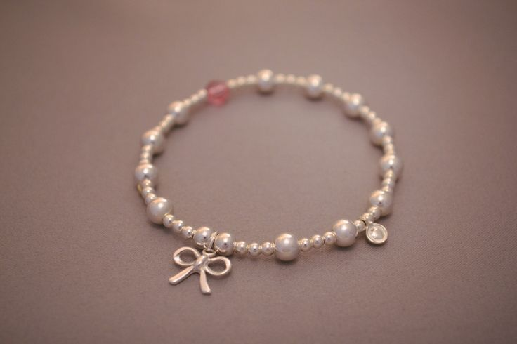Sterling Silver small and medium ball bead bracelet with pretty sterling silver bow charm