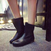 Venda quente Mulheres Moda Inverno Meados de Bezerro Botas Mulheres Apartamentos Saltos meia Outono Sapatos de Neve Das Senhoras Sapatos de Couro Pu botas de Las Dec14(China (Mainland))