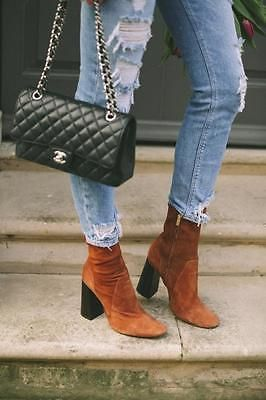 BNWT-ZARA-BROWN-SUEDE-LEATHER-HIGH-HEEL-ANKLE-BOOTS-BLOGGERS-Ref-5120-001