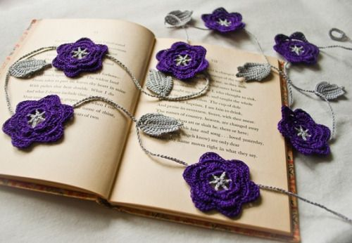 mabellevintage:  Purple and Gray Crochet Flower Garland by BobbiLewin
