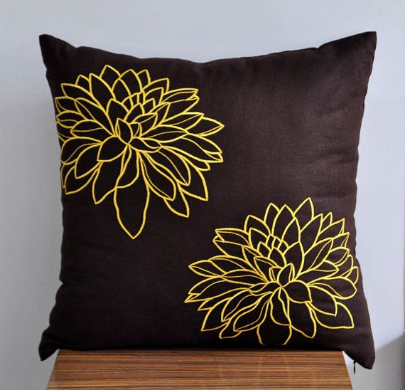 Yellow Floral Throw Pillow Cover, Dark Brown Linen Yellow flower Embroidery, Decorative Pillow Cover, Accent Pillow, 18 x 18 Pillow Cover on Etsy, $24.00