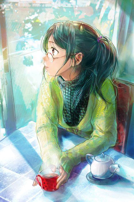 Enjoying Tea, girl illustration / Apprezzando il Tè, immagine ragazza