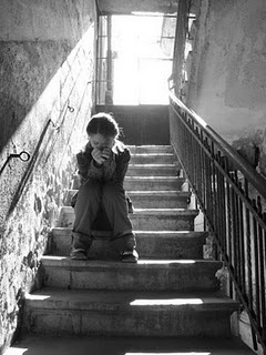 Stealing away to an old stairwell for a moment to pray.