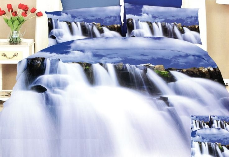 Vodopády ložní povlak modré barvy
