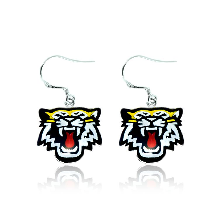 Pair of sterling silver and enamel Hamilton Tiger-Cats earrings.