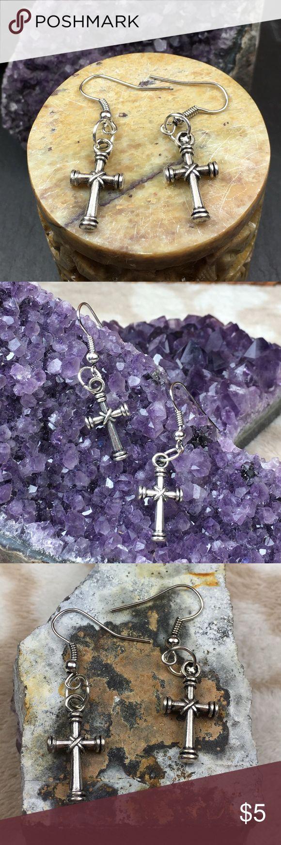 Cross Earrings Brand New. Tibetan Silver Cross charms. Fish Hook earrings are nickel and lead free. Handmade earrings. Jewelry Earrings