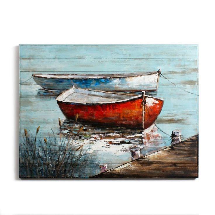 """Cadre peinture à l'huile sur bois """"Bateaux rouge et bleu"""". Dimensions: L 48.00 X…"""