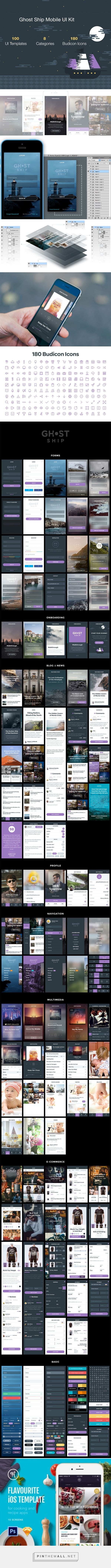 Recursos: webGhost Ship Mobile UI Kit | Visual Hierarchy - created via http://pinthemall.net
