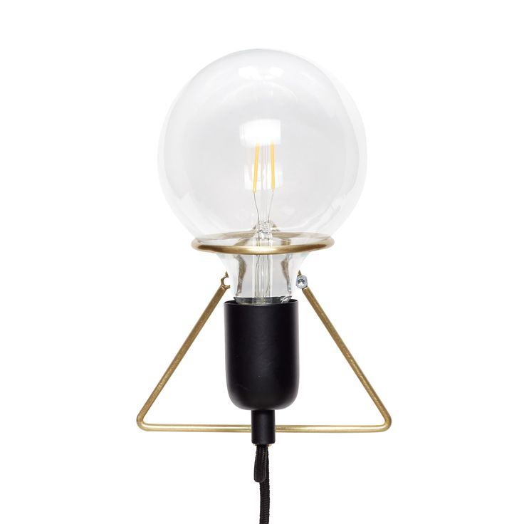 Black and brass wall lamp with bulb. Item number: 890410 - Designed by Hübsch