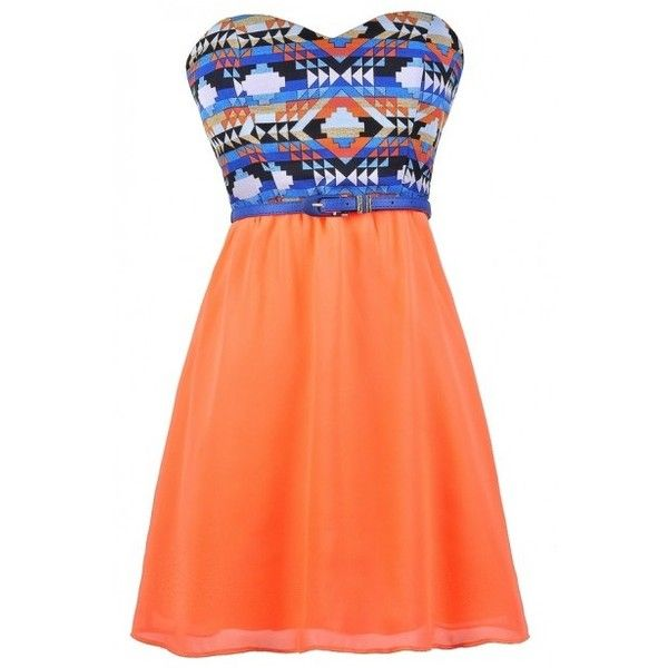 Neon Orange and Blue Southwestern Print Belted Dress ($16) ❤ liked on Polyvore featuring dresses, red a line dress, strapless dresses, red summer dress, a line dress and summer dresses