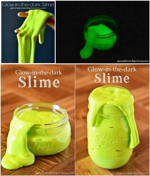Easy To Make Glow-In-The-Dark Slime - DIY - Find Fun Art Projects to Do at Home and Arts and Crafts Ideas