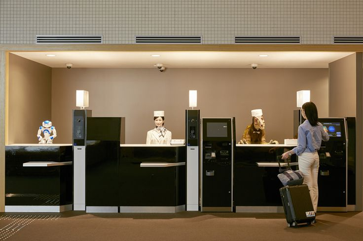 japanese hotel serviced by robots aims to realize an entirely new low cost initiative: in the heart of nagasaki japan, the 'henn na' hotel – which translates to 'strange hotel', is pushing the envelop of hospitality with robots at the front desk, porter and locker services and information room. the smart hotel aims to realize an entirely new low cost intuitive that provides a comfortable stay and world class productivity   designboom