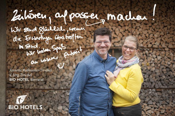 Anette Rothweiler Treichel & Jörg Treichel, Ihre Gastgeber von #Biohotel Werratal **** in Hann. Münden