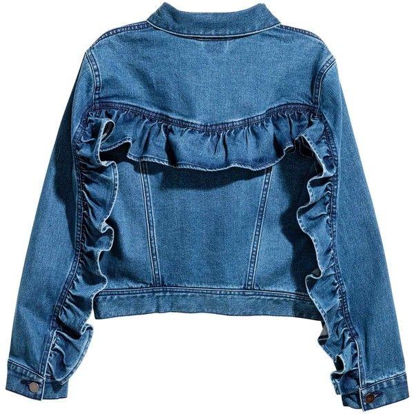 Flounced denim jacket (£40) ❤ liked on Polyvore featuring outerwear, jackets, blue jackets, ruffle jacket, ruffled denim jacket, collar jacket and blue jean jacket