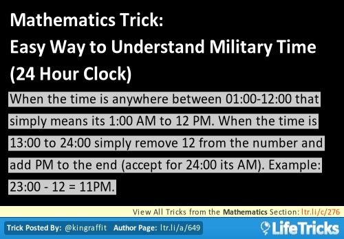What is the easiest or fastest way to learn military time