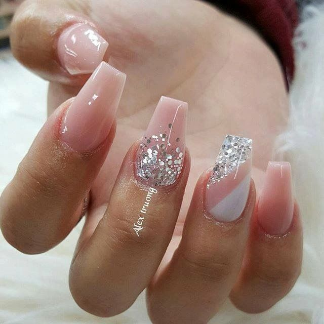REALLY CUTE coffin nails with glitter nail art | ideas de ...