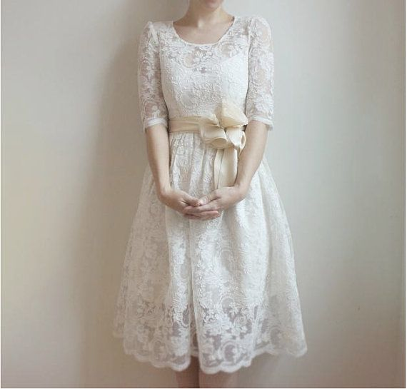 Sweet wedding dress by Leanne Marshall: http://www.etsy.com/listing/88036361/ellie-2-piece-lace-and-cotton-wedding
