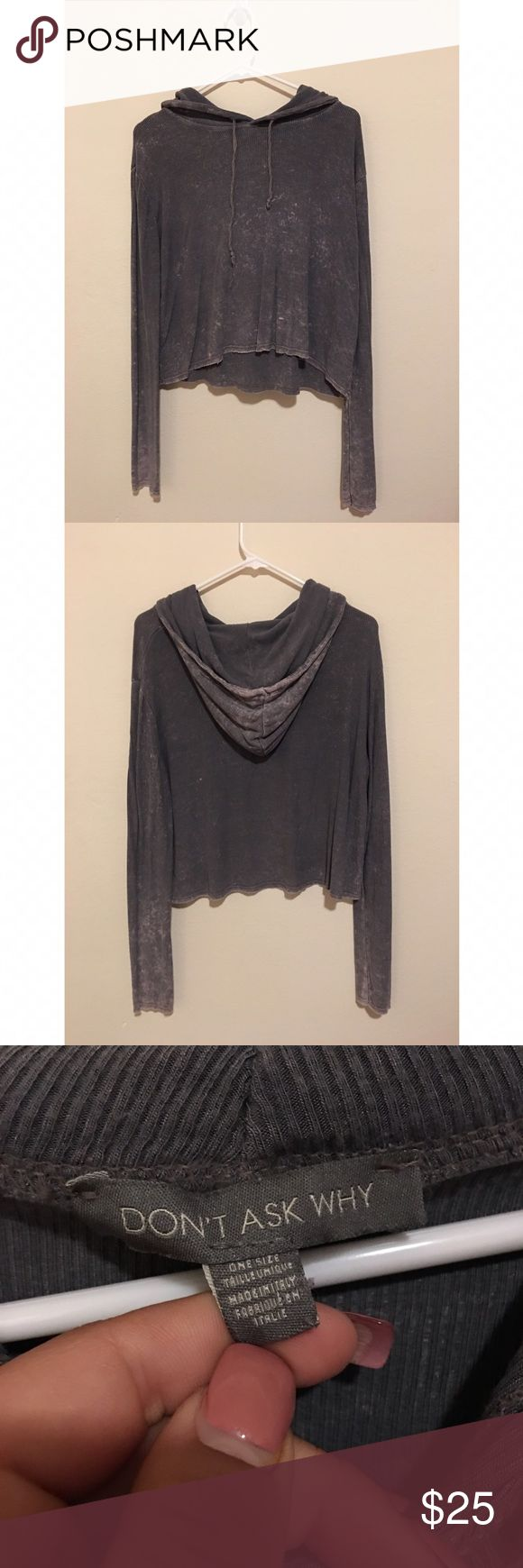 """American Eagle Crop Sweatshirt Distressed lightweight Crop hoodie sweatshirt. Tag says """"One Size Fits All"""", but fits like an XS/S American Eagle Outfitters Tops Sweatshirts & Hoodies"""