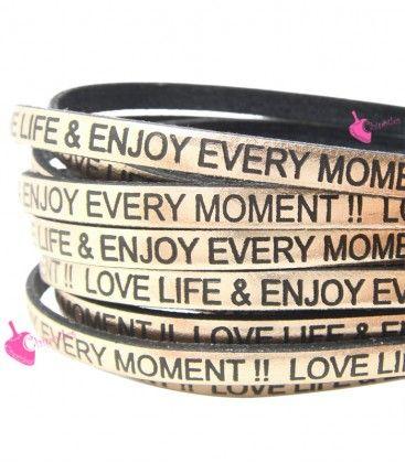 CORDONCINO PELLE 5 MM CON SCRITTA LOVE LIFE & ENJOY EVERY MOMENT COLORE ORO ROSA METAL