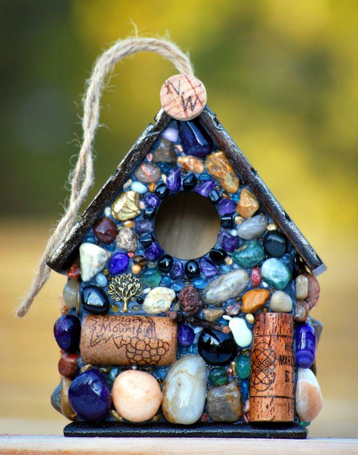 Wine Cork Birdhouse and  Mosaic Stone by WinestoneBirdhouses, $65.00