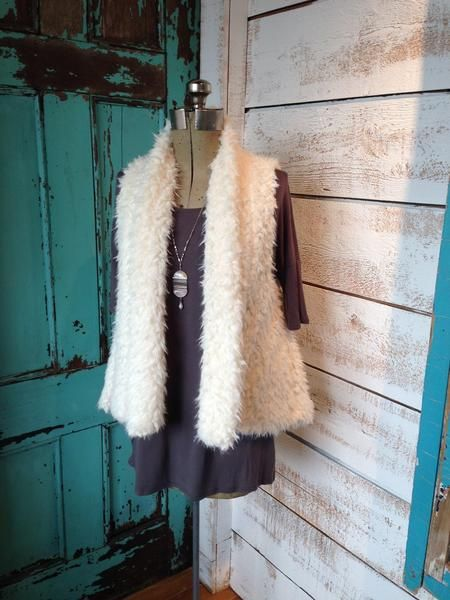 Fun Fur Ivory Vest with Pockets