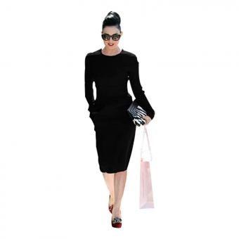 Vestido solid color pocket-Negro