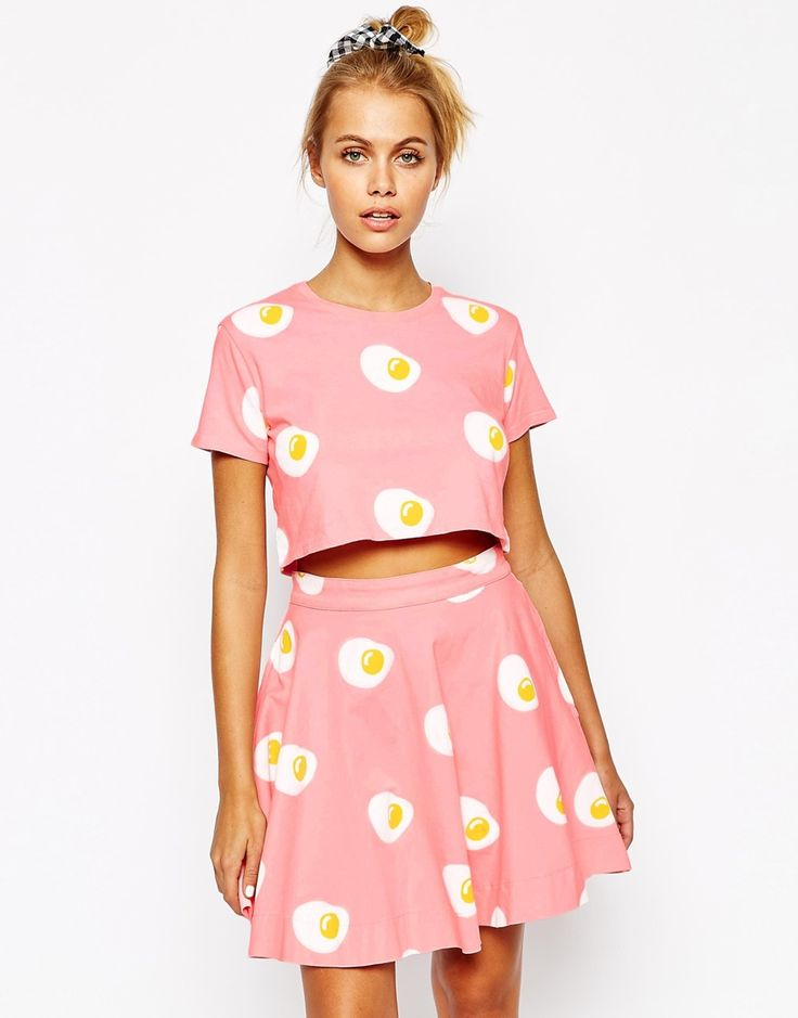 Lazy Oaf Cropped T-Shirt With All Over Egg Print Co-Ord