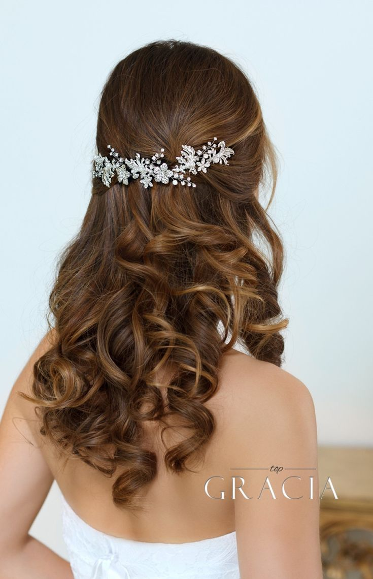 KHRYSEIS Bridal Hair Accessories Crystal Bridal headpiece Hair Vine With Flowers by TopGracia #topgraciawedding #bridalheadpidece #silverweddingheadpiece