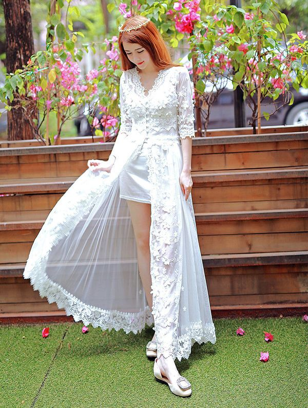 White V Neck Embroidery Slit Two Pieces Dress _Two Pieces Dress Dresses Wholesale Clothing, Cheap Clothes Online, Discount Clothing Shop - UniWholersaler.com