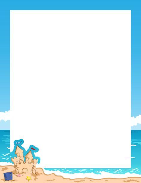 Beach Border Png border clip art featuring beach graphics such as ...