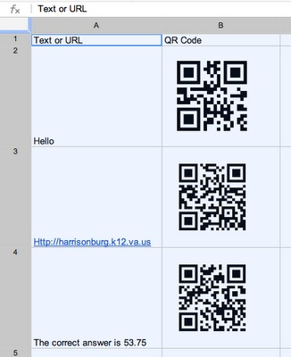 Using spreadsheets to organize QR Codes