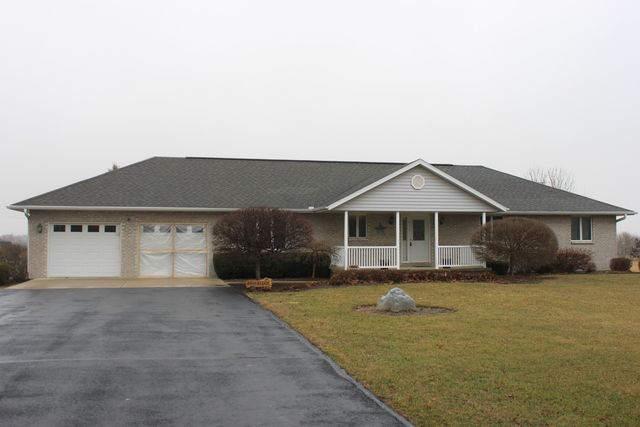 Executive ranch on 2 acres north of Sterling. 3 bedrooms, 2 baths, finished basement, 2 car attached garage, extra 28 x 36 detached garage, 14 x 36 building, a 16 x 12 shed with loft, 38 x 16 all weather deck. Taxes reflect exemption, Tax rate 7.7073.