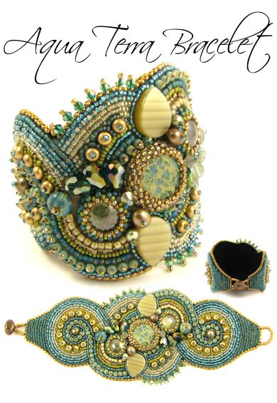 bead embroidery bracelet design http://www.beadseast.com/ Great color...beautiful work...great photo!!