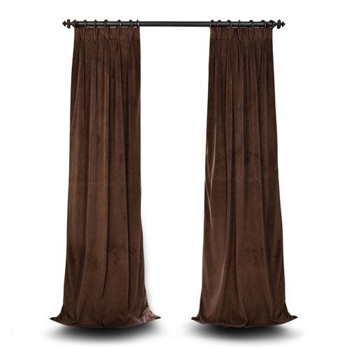 Evelyn Java 25 x 108-Inch Evelyn French Pleated Blackout Velvet Curtain