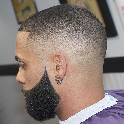 Mid Skin Fade + Buzz Cut + Thick Beard
