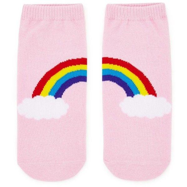 Forever21 Rainbow Graphic Ankle Socks ($1.90) ❤ liked on Polyvore featuring intimates, hosiery, socks, rainbow socks, short socks, forever 21, tennis socks and forever 21 socks