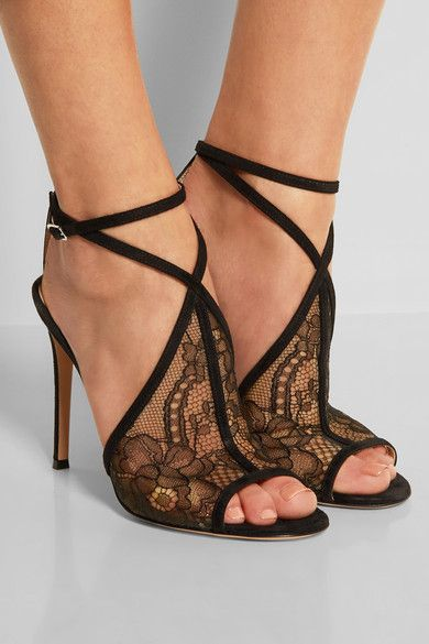Heel measures approximately 110mm/ 4.5 inches Black Chantilly lace and suede Buckle-fastening ankle strap Small to size. See Size & Fit tab.