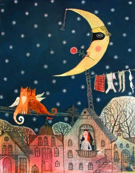 May Night by Belarusian artist Anna Silivonchik. Her aesthetic benchmarks can be traced back to Mark Chagall's fantastic realism, to naïve art of the beginning of the 20th century and to local Belarusian folklore and decorative arts.