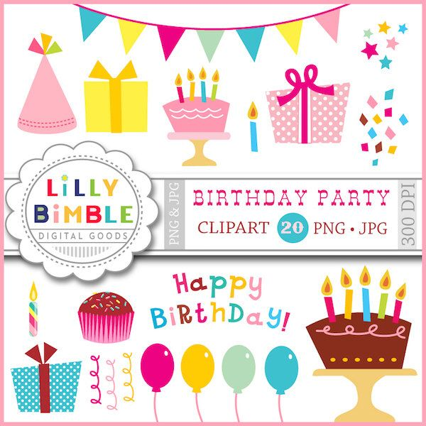 40 Off Birthday Party Clipart With Balloons Gifts Confetti Candles Cupcakes